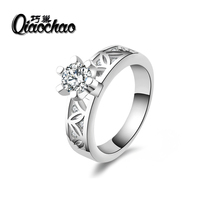 New square design Silver filled ring Cubic zirconia wedding rings luxury Brand jewelry Fine Gifts R54