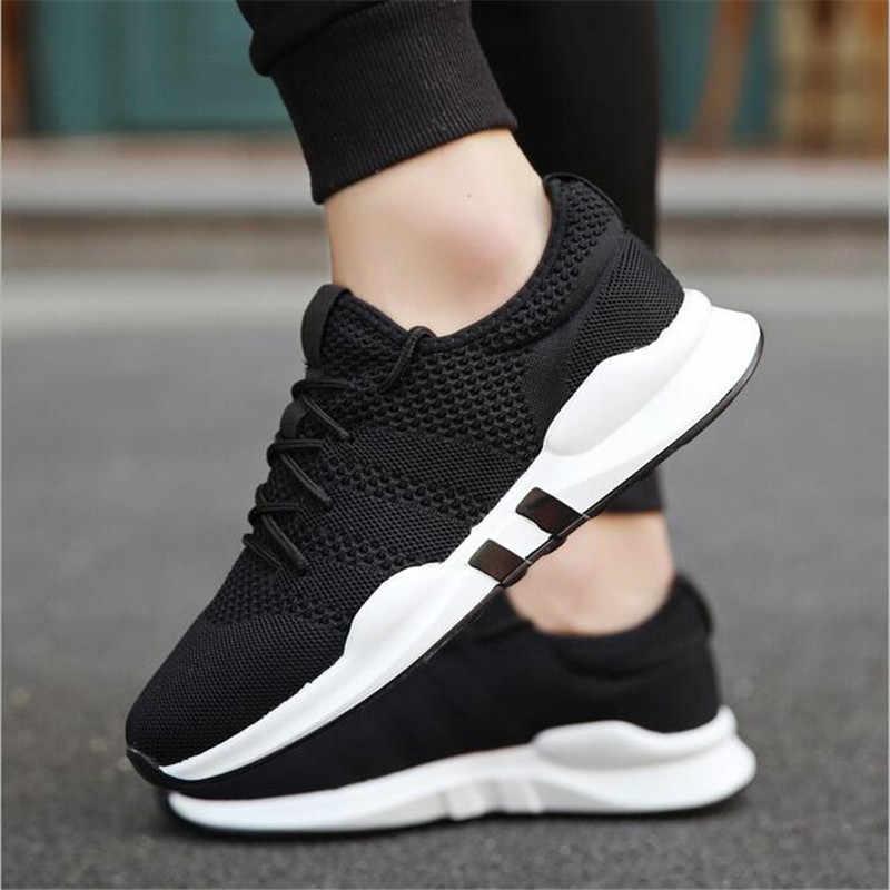 حار العلامة التجارية حذاء رجالي رياضية خفيفة الوزن تنفس الانزلاق على حذاء كاجوال للأزياء الكبار الأحذية Zapatillas Hombre الأسود