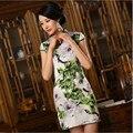 Высококачественный Бархат Cheongsam Китайских Женщин Атласная Qipao Бархат Короткие Cheongsams Китайский Восточные Платья Традиционной Печати Платье