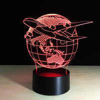 Cool Toy 3D Aircraft Warplane Lamp Model Creative Night Light Touch Jet Plane Desk Lamp LED Hologram illusion Lamp Bedside Lamp