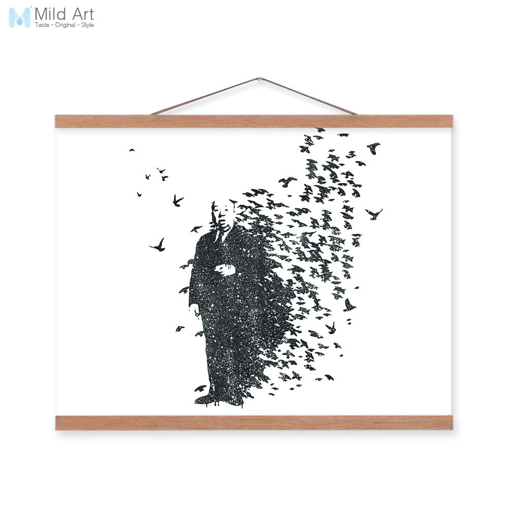 Modern Black White Abstract Banksy Pop Hipster Wooden Framed A4 Canvas Painting Home Decor Wall Art Print Pictures Poster Scroll