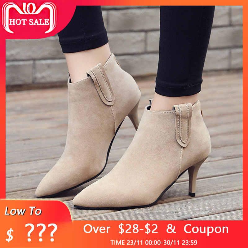 2fb15b115 Chelsea botas de Mujer Zapatos de tacón alto tobillo botas para mujer botas  de invierno botas