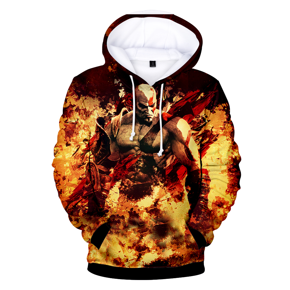 New God Of War 3D Hoodies Men/Women Sweatshirts Hoody 3D Print Flame Design Hooded 2018 Boys/Girls Fashion Polluver Thin Tops