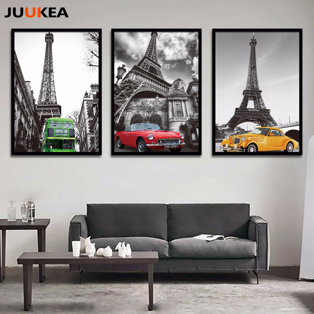 modern classic black and white eiffel tower retro car canvas art print painting poster wall