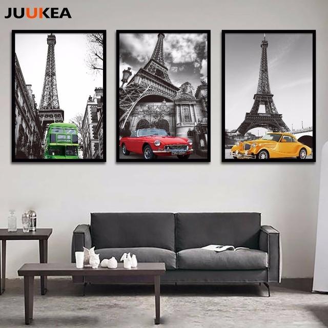 US $8.02 |Moderno Classico Bianco e Nero Torre Eiffel Retro Car Canvas Art  Print Pittura Poster, Picture parete Per Soggiorno, Decorazioni per la Casa  ...
