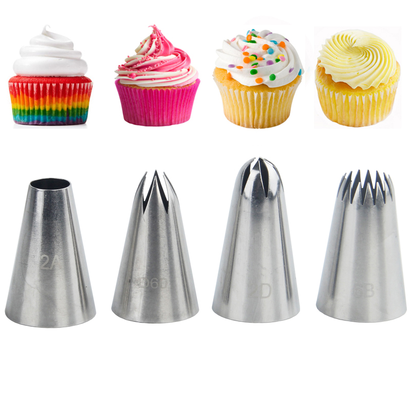 4Pcs Cream Tips Set Stainless Steel Piping Nozzle Icing Cream Cake Decoration Cupcake Pastry Tool