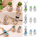 Women's Romantic Engagement Plated Cute Cat Jewelry Sets Necklace Earrings  88UA