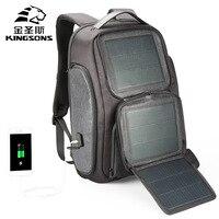 Kingsons Backpack Men Solar 15.6 Inch Laptop Anti Theft Bagpack USB Charging Mini Back Pack for Teenager Boy Travel Rucksack Bag