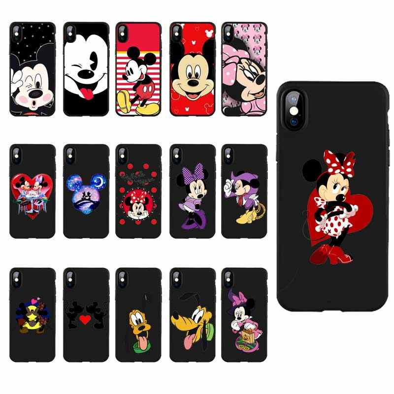 M261 Mickey Mouse Minnie ซิลิโคนสีดำสำหรับ Apple iPhone 11 Pro XR XS Max X 8 7 6 6S Plus 5 5S 5G SE