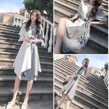 Cold Wind Womens Dress Female Summer casual dress 2019 new tide Korean version Dresses women irregular mosaic plus size