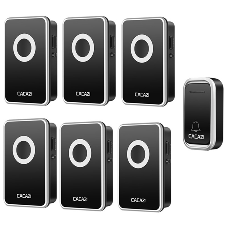 CACAZI AC 110-220V wireless doorbell 1 transmitter+6 receivers EU US UK plug 300M remote door bell 3 volume 38 rings door chime cacazi ac 110 220v wireless doorbell 1 transmitter 6 receivers eu us uk plug 300m remote door bell 3 volume 38 rings door chime