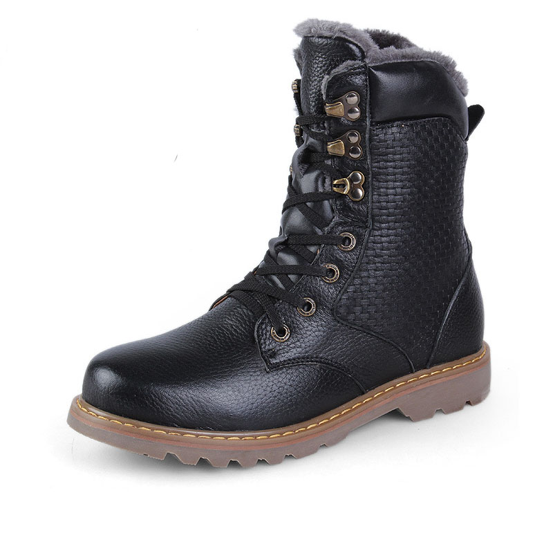 leepag boots genuine leather shoes winter fur lining