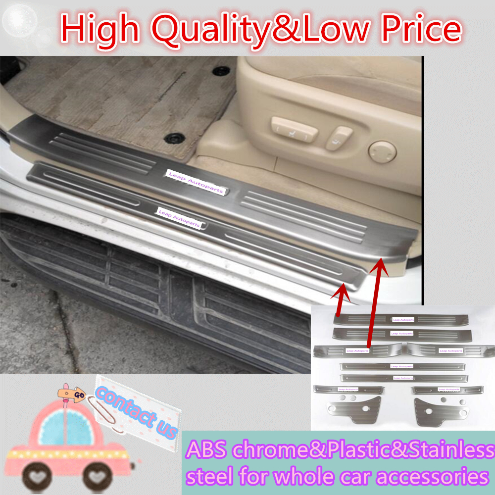 For Toyota Prado FJ150 2010 2011 2012 2013 Stainless Steel Car Door Cover Sill external+internal Threshold Pedal trim 10pcs/set steel top bottom full set window frame sill trim cover for toyota land cruiser prado fj150 2010 2016