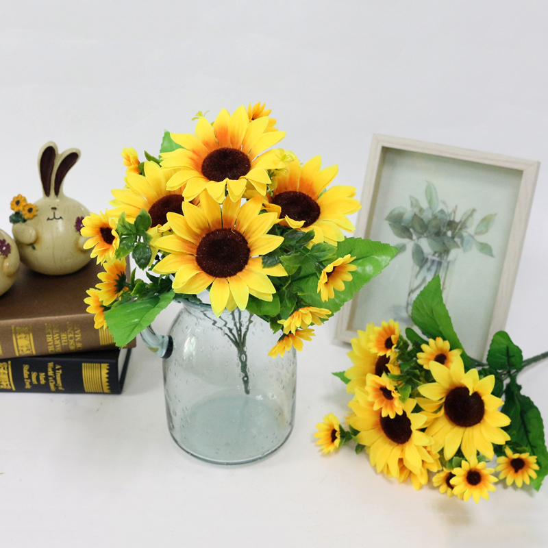 JAROWN Simulation Sunflower Bouquet Artificial Silk Fake Flowers For Home Office Tabletop Decor Wedding Decorations (4)