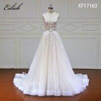 Eslieb Elegant New Design A line Wedding Dress 2018 Sexy V neck Backless Vestido de Noiva Bride Dresses robe de mariage
