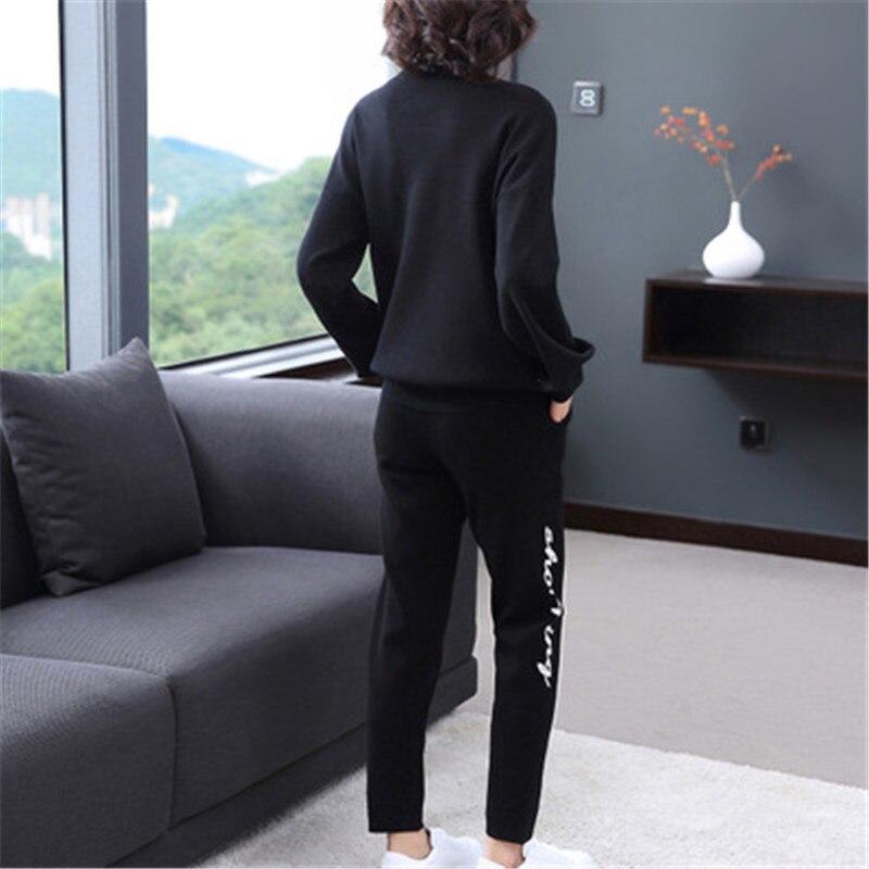 2018 แฟชั่นสบายๆกางเกงชุดฤดูใบไม้ร่วงรอบเสื้อกันหนาวเสื้อ + สูงเอวบางตรงกางเกงผู้หญิง-ใน ชุดสตรี จาก เสื้อผ้าสตรี บน   2