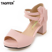 TAOFFEN Women Shoes Women Sandals Squared Heels Bowtie Bowknot Ankle Strapped Peep Toe Casual Fashion Female
