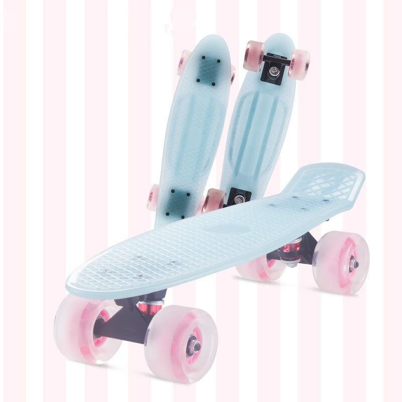22 pouces quatre roues Mini Cruiser Style banane Longboard couleur Pastel planche à roulettes rue longue planche à roulettes Sports de plein air