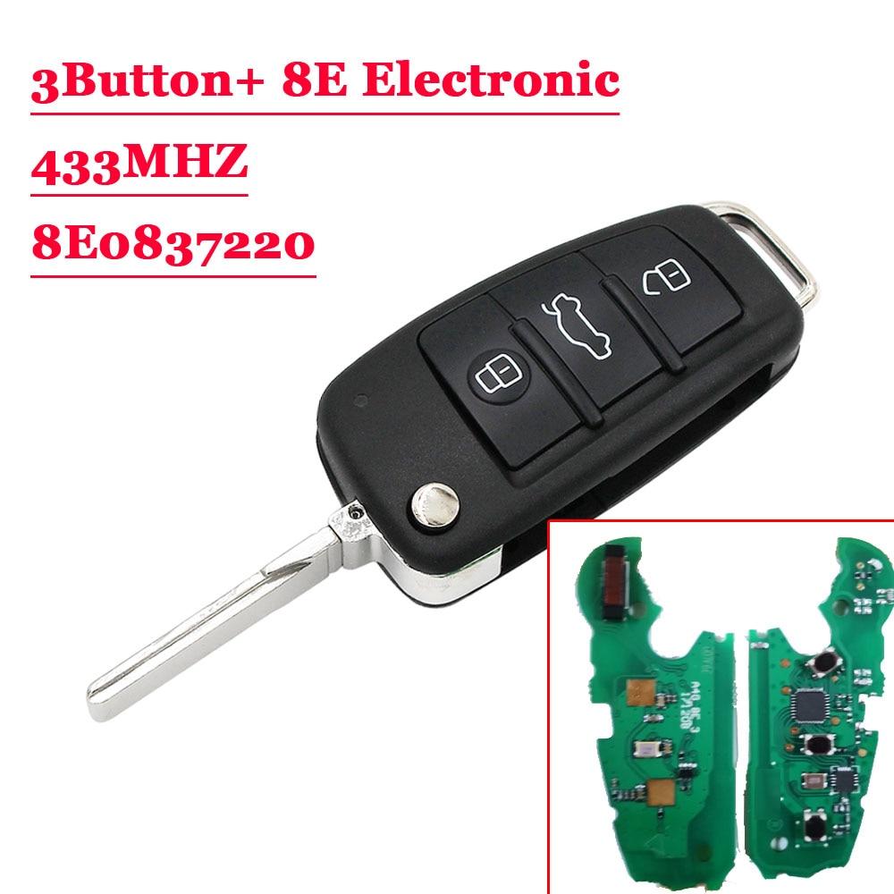 (1PCS )433MHz 8E Chip P/N: 8E0 837 220AF / 8E0 837 220Q Upgraded Flip Folding 3 Button Remote Car Key Fob for Audi A6L Q7(1PCS )433MHz 8E Chip P/N: 8E0 837 220AF / 8E0 837 220Q Upgraded Flip Folding 3 Button Remote Car Key Fob for Audi A6L Q7