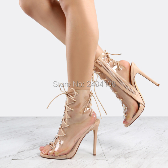 New Design High Heel Clear Shoes Women Stilettos Nude Sandals Zipper Ankle  Booties Peep Toe Cross-tied Lace-Up Transparent Boots f29e9db9bd36