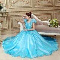 Deep Sky Blue Quinceanera Gowns Sweet Quinceanera Dresses with Jackets Lace Up Ball Gown vestito quinceanera