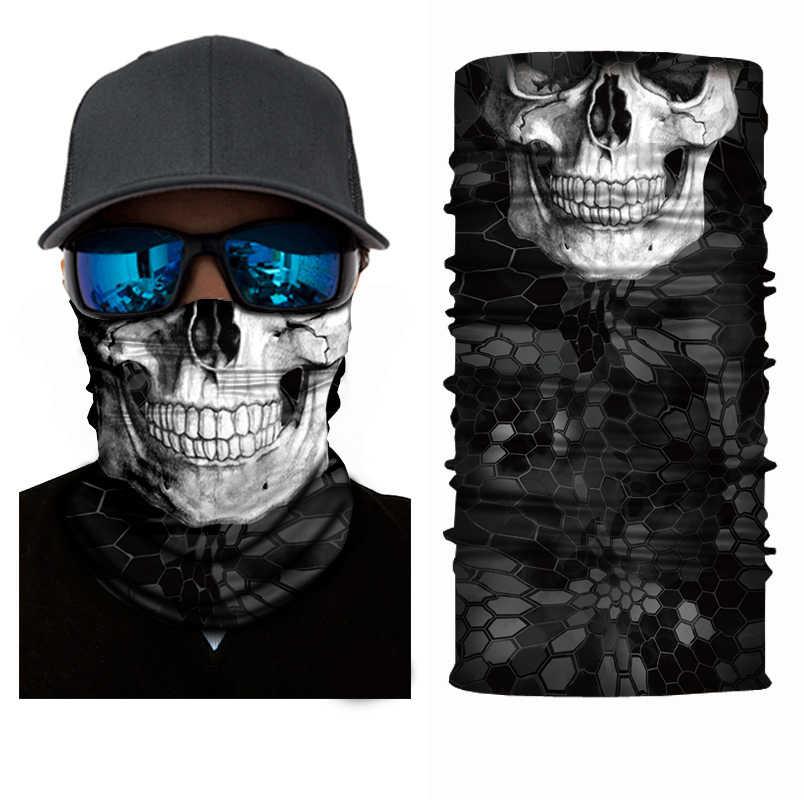 3D ハロウィンバンダナサイクリング魔法のバンダナスカーフ頭蓋骨ハイキングネックウォーマーアウトドアフェイスマスクシールドヘッドバンド帽子男性