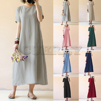 Celmia Women Vintage Linen Dress 2018 Summer Shirt Dress Short Sleeve Solid Casual Loose Party Beach Maxi Long Vestidos Hot Sale