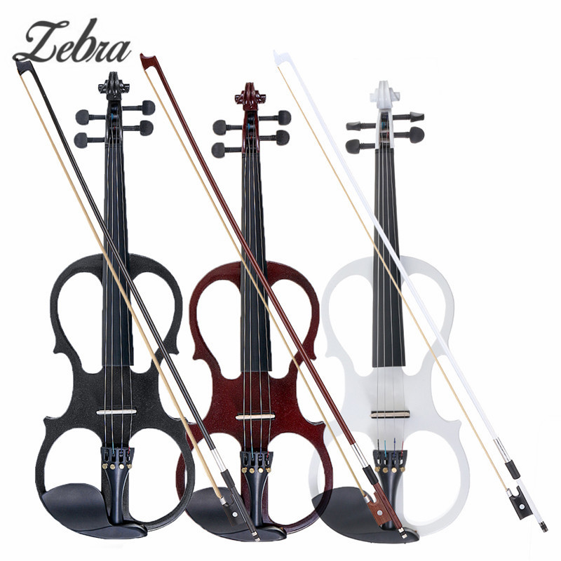4/4 Electric Acoustic Violin Basswood Fiddle with Violin Case Cover Bow Rosin for Musical Stringed Instrument Lovers Beginners violin bow 4 4 high grade brazil wood ebony frog colored shell snake skin violino bow fiddle violin parts accessories bow