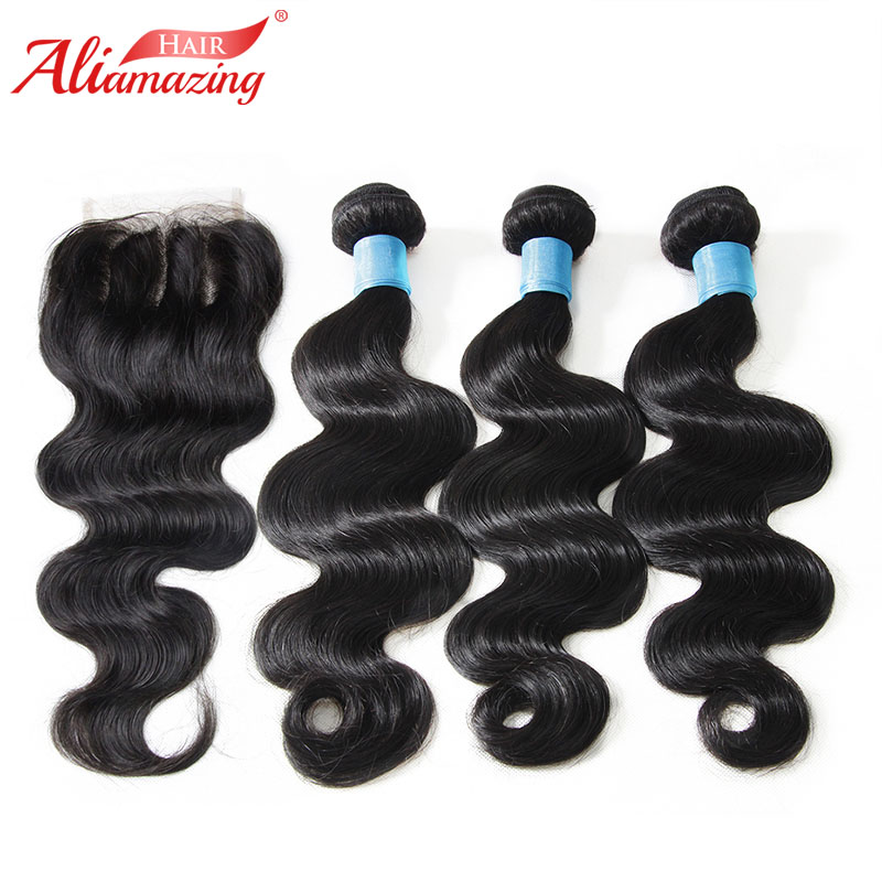 Ali Amazing Hair Human Hair Bundles With Closure Brazilian Loose Wave 3 Bundles with 4x4 Lace Closure 4pcs/lot #1B Free Shipping