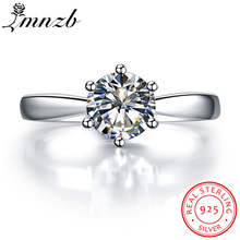 Big 95% OFF! LMNZB Fine Jewelry Real Original 925 Solid Silver Rings Solitaire 1 Carat CZ Zirc...