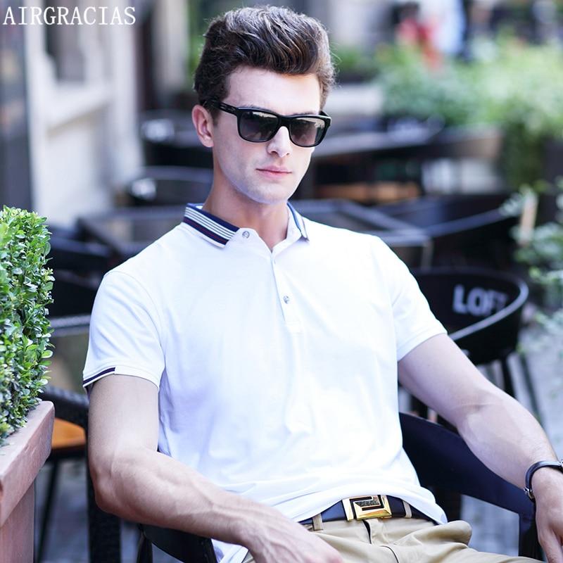 AIRGRACIAS 캐주얼 폴로 셔츠 남성 패션 단색 반소매 남성 폴로 새 도착 패션 브랜드 의류 Camisa Polo Shirts