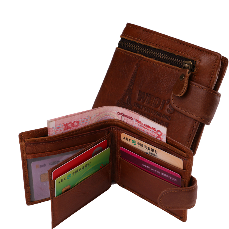New men wallet classical men's wallet with zipper coin pocket purses leater men Genuine Leather wallets