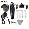 Kemei 4 in1 recarregável lavável barbeador elétrico máquina de barbear lâminas de barbear máquina de cortar cabelo aparador de pêlos do nariz elétrica multifuncional