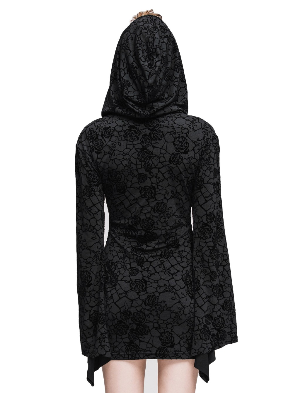 Steampunk Gothic Ukraine Black Dresses For Women Roses Print Flocking Knitted Dress With Hooded Long Sleeve Women Clothing 10