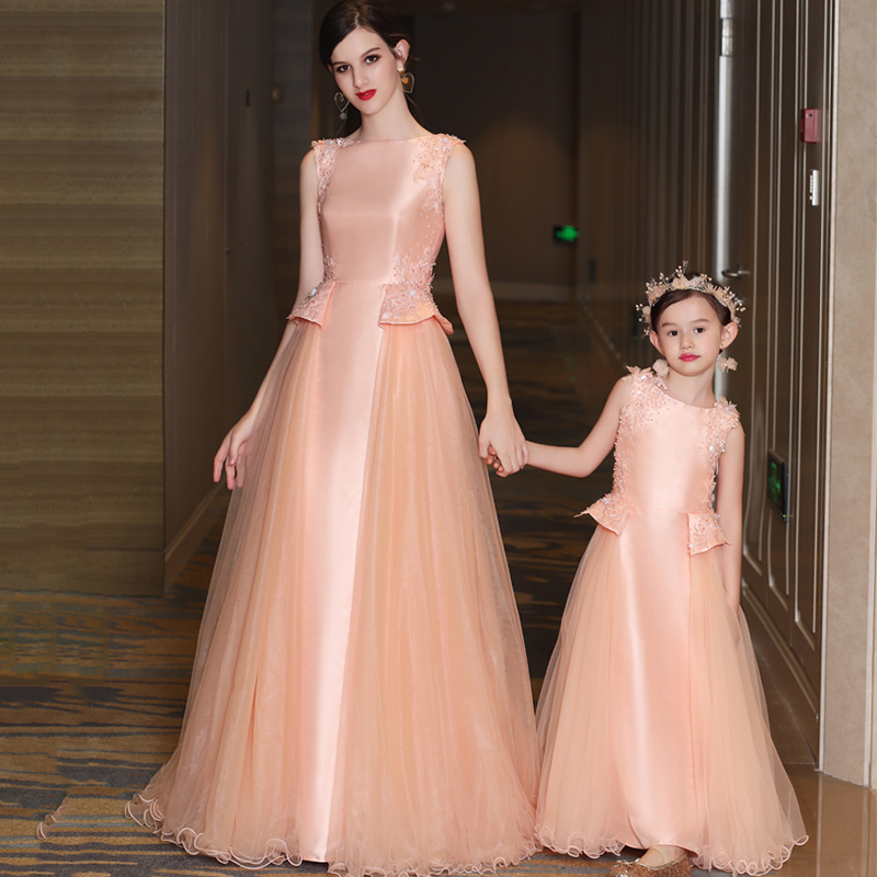 Beading Pink Flower Girl Dress for Wedding Sequined Lace-Up Satin Tulle Kids Pageant Dress Birthday Catwalk Kids Evening Gowns 2017 red cute flower girl dress for wedding with crystals ruffle tulle baby lace dress little kids pageant gowns