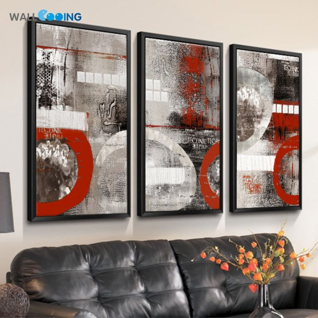 Peinture Abstraite Rouge Impression Dart Vertical Décor à La Maison
