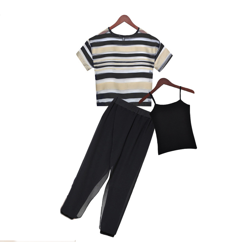 2015 Women Small Fragrant Wind Suit Female Striped Organza Top +Harem Pants Suits Fashion Plus Size Two-pieces Sets 6 plus size striped harem pants