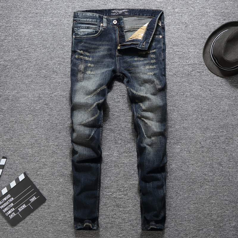 Italian Fashion Designer Men Jeans High Quality Classical Brand Jeans Men Slim Fit Dark Color Ripped Jeans Homme Biker Jeans