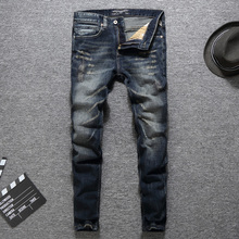 купить Italian Fashion Designer Men Jeans High Quality Classical Brand Jeans Men Slim Fit Dark Color Ripped Jeans Homme Biker Jeans дешево