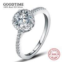 Кольцо 100% чистое серебро 925 пробы обручальные кольца для женщин с круглым 1 карат Имитация SONA цирконий; для помолвки кольцо GTR011