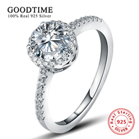 Ring 100% Pure 925 Sterling Silver Wedding Rings for women With Round 1 Carat Imitation SONA Zirconia Engagement Ring GTR011