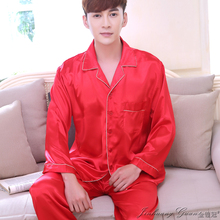 Pajamas mens long-sleeved silk spring and autumn ice pajamas summer thin section casual home service large size suit