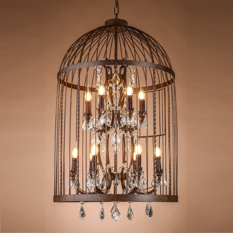 купить birdcage Pendant Lights crystal loft industrial wind droplight American country wrought iron restaurant lamp K9 Crystal Lighting недорого
