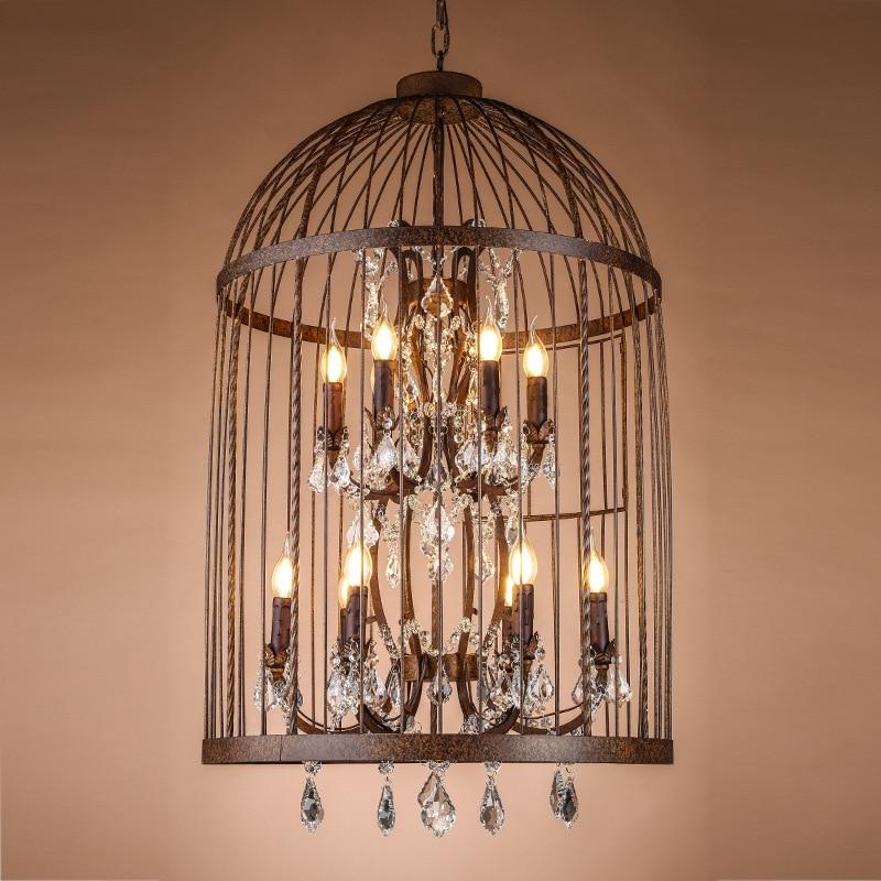 rustic light fixtures for bedroom birdcage pendant lights crystal loft industrial wind droplight