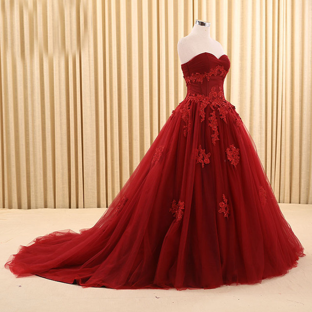 Dark Red Wedding Dresses 2017 Sweetheart Appliqued Ball Gown Floor ...