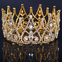 2017 New Luxury Royal Bridal Tiaras Gold Color Metal Clear Rhinestone Crystal Bridal Crown Wedding Hair Accessories Big crown