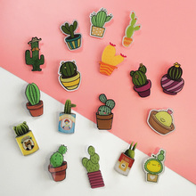 5 PCS Cartoon cactus Icons Acrylic Badges for Backpack Badges Clothes Plastic Badge Kawaii Pin brooch Badge цены