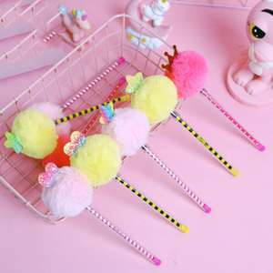 1Pc Creative Lovely Pompom Neutral Gel Pen 0.5MM Signature Fluffy Creative Gel Pen School Supplies Stationery Papelaria Escolar