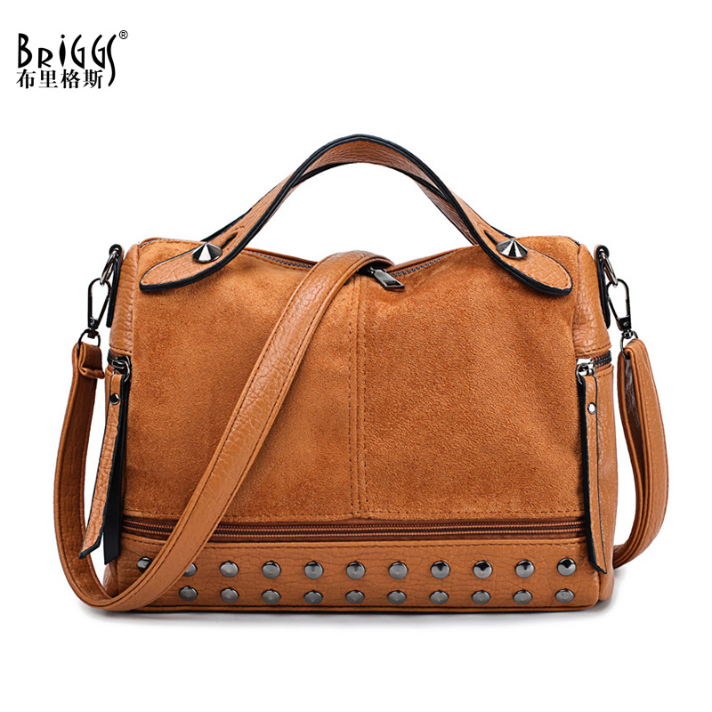 BRIGGS Fashion Women Top-handle Bags With Rivets High Quality Leather Female Shoulder Bag Small Vintage Motorcycle Tote Bags