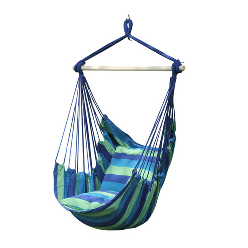 New Swinging Hanging Chair Indoor Outdoor Furniture Hammocks Thick Canvas Dormitory Swing with 2 Pillows Hammock Camping